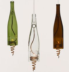 Hanging wine bottle votives.