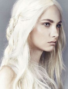 """Desiree is thought to be a decedent of Queen Keena I. She shares the ancient Queen's white blonde hair, pale eyes (though hers are silverish gray and Keena's was blue) and striking features. Both were named """"The Most Beautiful Woman in the World."""""""