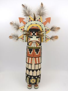 "Old-Style Shalako (Shalako) Kachina Hand Carved from Cottonwood Root and Hand Painted. 13"" Overall Height"