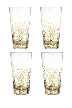"""Fitz & Floyd Gold Luster Highball Glasses - Set of 4 by Jay Import Details: Give a toast with these beautiful Gold Luster Set of 4 Highball Glasses from Fitz & Floyd. These beautiful glasses are the perfect way to toast, drink and enjoy. - Set of four - Color: gold - 18 oz. capacity each - 3.3"""" L x 3.3"""" W x 3.6"""" H each - Imported $90.00"""