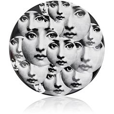"""Fornasetti \""""Multi Faces Overlapping\"""" Porcelain Plate ($185) ❤ liked on Polyvore featuring home, home decor, no color, black and white plates, fornasetti plates, porcelain plates, black white home decor and round plate"""