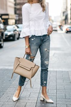 Fashion Jackson, Club Monaco White Ruffle Top, Denim Ripped Relaxed Jeans, White Block Heel Pumps, Celine Belt Bag Source by dresses classy Look Boho, Look Chic, Denim Top Outfit, White Heels Outfit, Trendy Fashion, Boho Fashion, Denim Fashion, Spring Fashion, Classy Fashion