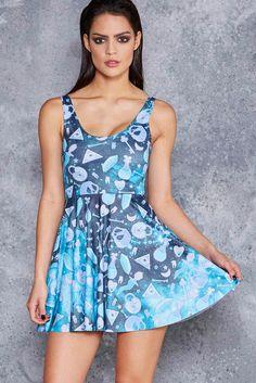Voodoo Galaxy Scoop Skater Dress - 48HR ($85AUD) by BlackMilk Clothing