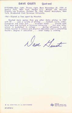 1968 Dexter Press Houston Astros #6 Dave Giusti Back