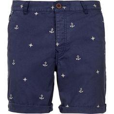 TOPMAN Blue Nautical Motif Shorts ($39) ❤ liked on Polyvore featuring men's fashion, men's clothing, men's shorts, men, shorts, menswear, mens clothes, blue, mens blue jean shorts and mens shorts