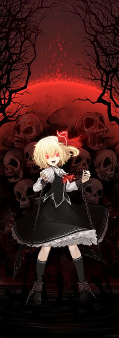 r cuffs fangs full moon glowing glowing eyes hair ribbon hands highres juliet sleeves leg grab long sleeves looking at viewer moon night open mouth puffy sleeves red eyes red moon ribbon rumia shackle Anime Child, Anime Girls, Hair Chains, Red Moon, Gifted Kids, Red Eyes, Manga Pictures, Full Moon, Original Image