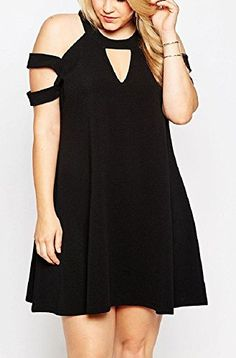 c9642a8c10de Fiona World Womens Black Plus Size Cold Shoulder Swing Dress Fiona World  http