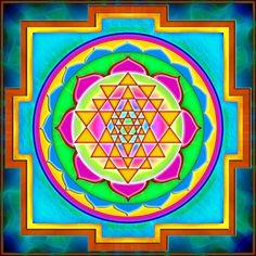 Sri Yantra Mandala - Mandalas For The Soul Mandala Art, Mandala Design, Mandala Painting, Painting Canvas, Sri Yantra, Mantra, Simple Mandala, Illustrations, Sacred Geometry