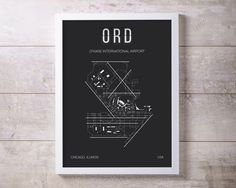 ORD Chicago OHare International Airport Print Map Wall Art