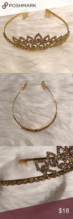 Gold Tiara with Shimmering Gemstones Adult sized tiara perfect for the birthday girl or bride-to-be. One section off to the far left side has been damaged, see last photo. Measures five inches across at larger point. Accessories