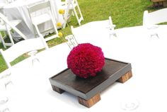 purple flower ball resting on wooden tray. Flower Ball, Event Ideas, Purple Flowers, Wedding Centerpieces, Tablescapes, Raspberry, Tray, Floral, Decor