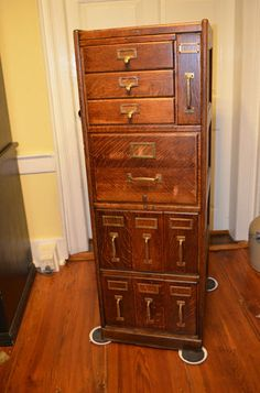Antique Macey Quarter Sawn Oak File Cabinet Unusual Drawer Configuration
