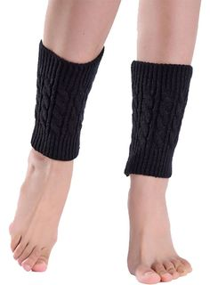 "Gillbro Women Boot Cuffs Leg Warmer Knitted Boot Socks Topper,Black. These are Leg warmer (not Socks/not Legging). One size fits most. Comfortably fits calves up to 17"" around. Pairs with skinny jeans, leggings, dresses and skirts to 'top off' your look; can be worn peeking out under tall boots or cuffed over the top of riding or rain boots; or wear them scrunched down over your calf-high, combat boots, ankle boots or booties. Hand wash + air dry. The soft knit won't pile easily like…"