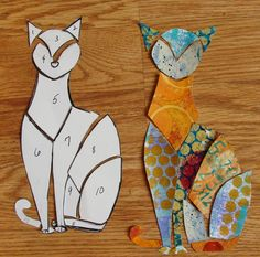 Diane Salter - A New Step-by-Step Tutorial for 2015 including the use of Gelli painted papers!  And  then  I  cut  up  the  blocked-out  segments  of  the  cat   and  numbered  them--making  it  much  easier  to  cut  out  the  same  pieces  with  my  paper--