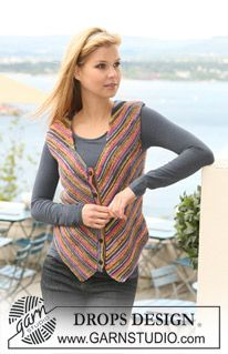"""DROPS waistcoat in garter st in """"Fabel"""" with sloped front pieces. Size S - XXXL. ~ DROPS Design"""