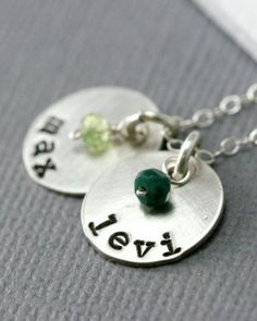 Sterling silver circle discs mothers necklace