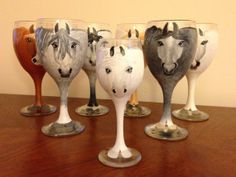 Hand painted wine glasses custom made to by PonyWineCollection, $50.00