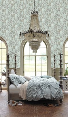 Tea Empire Chandelier, Rococo Mirror, Kantha Beatrix Dining Chair, Climbing Spire Bed, Evelyn Throw, Egerton Wallpaper
