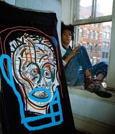 "Jean-Michel Basquiat, New York, 1986 by Gianfranco Gorgoni ""Through the Lens: Icons of Contemporary Art"" Exhibition. Jean Basquiat, Jean Michel Basquiat Art, Basquiat Artist, Sgraffito, Arte Pop, Keith Haring, Outsider Art, Andy Warhol, American Artists"