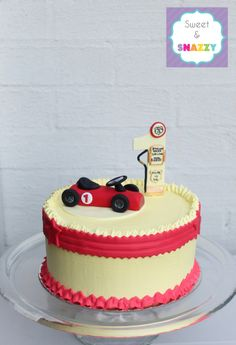 Vintage Race Car and petrol pump number 1 - Smash Cake by Sweet & Snazzy https://www.facebook.com/sweetandsnazzy