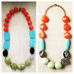 anthro necklace on the right, diy version on the left