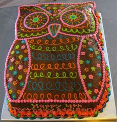 awesome owl cake! Don't know if my decorator skillz are up t par for this one, but so cute.