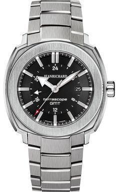 Jean Richard Terrascope GMT. 44mm case. 12.6mm thickness.