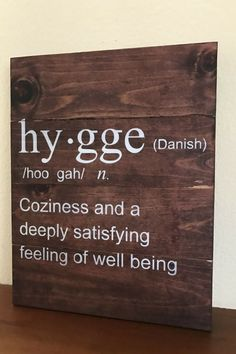 I love this hand made wooden Hygge sign. Perfect for a front entrance way! #ad #hygge #hyggedecor #handmade #etsy #celebratetheeveryday