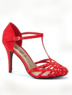 New Look: Red stud t-bar heel courts.