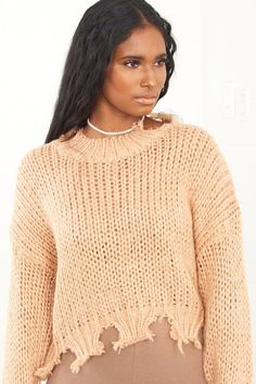 Heavy Distressed Sweater Nude