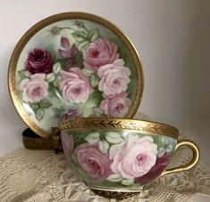 Details about Limoges Roses Handpainted Gold Encrusted Guild Tea Cup And Saucer - Adam Sine Cup And Saucer Set, Tea Cup Saucer, Porcelain Dolls Value, Fine Porcelain, Teapots And Cups, Teacups, Antique Tea Cups, Fru Fru, Tea Art