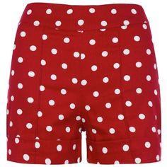 'Nishka' Red White Polka High Waisted Shorts ($25) ❤ liked on Polyvore featuring shorts, red, high waisted shorts, patterned shorts, high waisted print shorts, cuffed shorts and red shorts