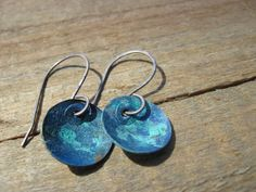 Bohemian Blue Earrings Copper patina earrings by CopperTreeArt, $30.00
