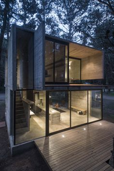 House is a concrete holiday home designed by Argentinian architect Luciano Kruk. The house is located in a pine forest near Buenos Aires. Architecture Design, Concrete Architecture, Design Exterior, Facade Design, Modern Exterior, Casas Containers, Building A Container Home, Shipping Container Homes, Shipping Containers