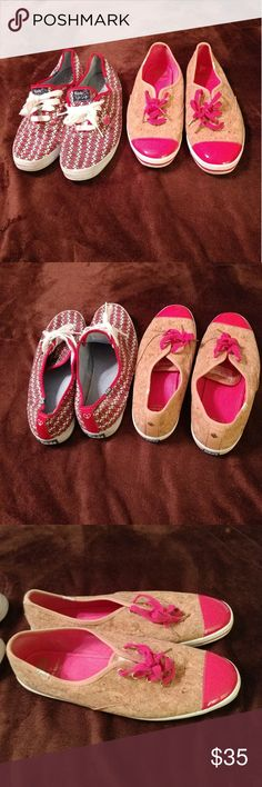 Keds Bundle Taylor Swift & Kate Spade Editions Lightly worn Kate Spade Pink and Cork screw (light tan) with Gold Spades on the heels. Her keds are light weight and super Comfortable. Taylor Swift's has white and black guitars over top of a red canvas. This can be a bundle or you can purchase separetly for $20 a piece. Any questions just it the reply button 🤗🤗 Keds Shoes Sneakers