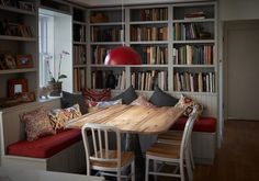 My parents recently renovated and created this cozy kitchen nook. Kitchen Nook, Kitchen Ideas, Luxury Kitchen Design, Built In Seating, Home Libraries, Cozy Place, Kitchen Flooring, Ideal Home, Home Kitchens