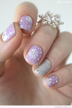 Purple and silver Christmas nails