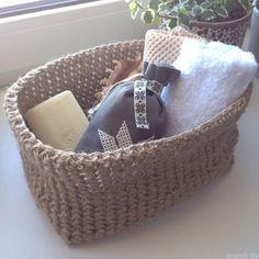 Вязаная корзина для хранения, вязание крючком