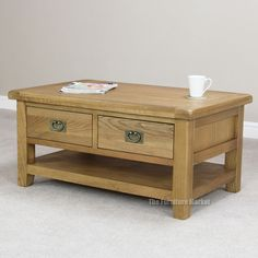 Cheshire Rustic Oak 2 Drawer Coffee Table