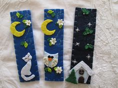 Winter-bookmark gift for readers-Handmade by TinyFeltHeart on Etsy