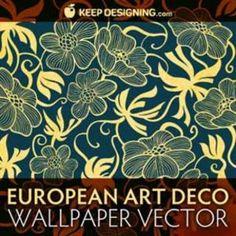 European Art Deco Bloemen Wallpaper |