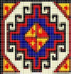 Turkish motif Boho Tapestry, Tapestry Crochet, Seed Bead Patterns, Beading Patterns, Crochet Mandala Pattern, Crochet Patterns, Cross Stitch Embroidery, Cross Stitch Patterns, Palestinian Embroidery