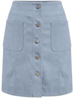 Shop Single Breasted Pockets Suede Blue Skirt at ROMWE, discover more fashion styles online. Skirt Pants, Dress Skirt, Summer Skirts, Mini Skirts, Denim Jumpsuit, Western Dresses, Casual Skirts, Skirt Outfits, Blue Dresses