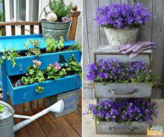 Duas inspirações de como reaproveitar móveis antigos. Lembre-se de colocar as plantinhas em vasinhos!