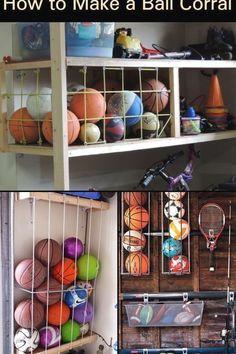 Garage Organization Tips, Diy Garage Storage, Shed Storage, Garage Ideas, Outdoor Toy Storage, Sports Organization, Diy Storage Projects, Diy Projects, Sports Storage