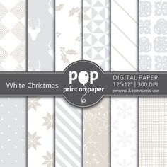 White Christmas digital scrapbook paper by POP print on paper