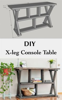DIY Rustic X-leg Console table that is easy and quick to build with the Free plans. This DIY Entryway table with shelves is made using structural lumber. #WoodworkingProjects Wood Projects For Beginners, Wood Working For Beginners, Diy Furniture For Beginners, Diy Projects With Wood, Furniture Projects, Table Furniture, Furniture Stores, Building Furniture, Furniture Removal