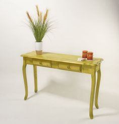 RIT dye stained this table Chartreuse Dye-Stained Table How To Unfinished Wood Furniture, Painted Furniture, Diy Furniture, Stain Wood, Stain Pine, Stained Table, Rit Dye, Green Table, Wood Crafts