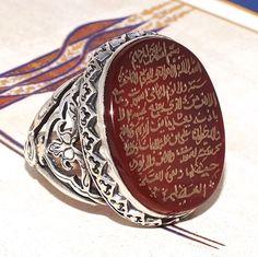 Ayat al-Kursi engraved 925 Sterling Silver Islamic ring with Carnelian Aqeeq #KaraJewels #Islamic