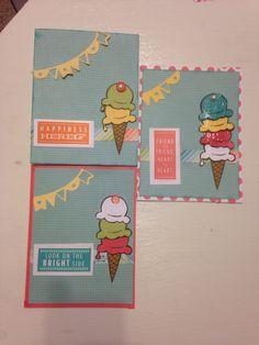 June Ice Cream Dream SOTM, Blossom paper, washi tape, paper piecing.